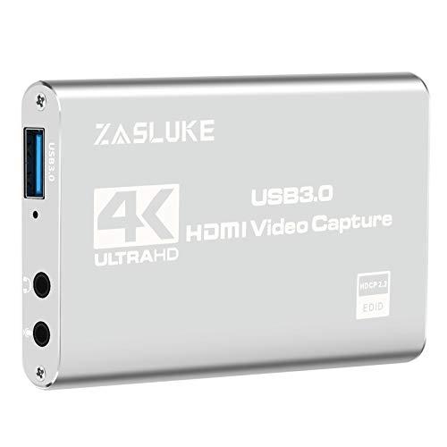 ZasLuke Game Capture Card, 4K USB 3.0 HDMI Capture Card mit 1080P 60FPS HDMI-Loop-Out Live-Streaming für PS4, Xbox One&Xbox 360 und Mehr
