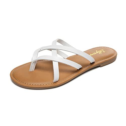 LUFFYMOMO Women's Elastic Strap Flat Sandals Casual Summer Open Toe Sandal(9 M US White)