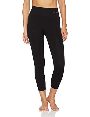 Sundried Frauen geerntete Leggings 3/4 Capri Tights Yoga Lauf Gym Training (Schwarz, L)