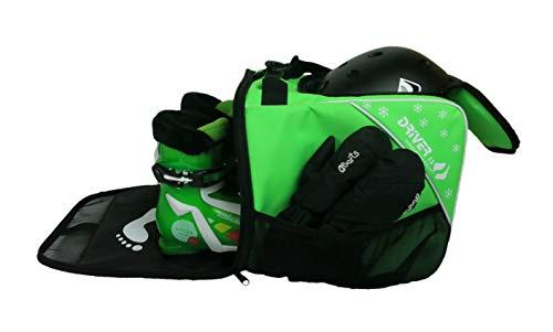 Driver13  Bolsa para Botas de esquí para niños Bolsa para Botas de esquí con Compartimento para el Casco para Botas duras y Blandas Patines en línea y Bolsa para Botas Verde