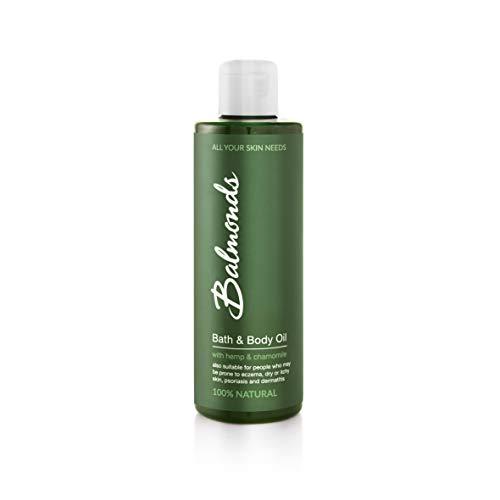 Balmonds Bath & Body Oil 200ml - Bath & Body Oil Moisturizer with Hemp, Chamomile & Lavender - All-Purpose Moisturizing Oil for Eczema, Psoriasis, Dermatitis, Dry Skin