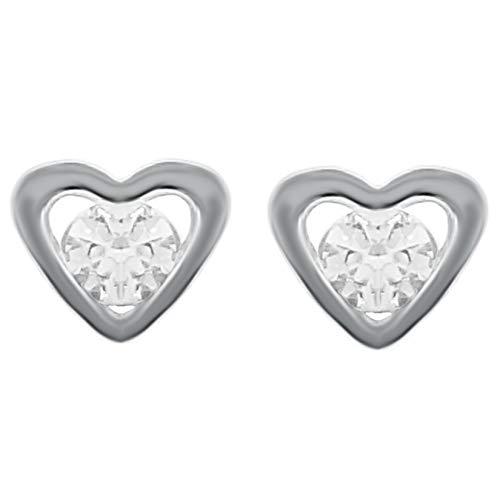 Pendientes de corazón de plata 925 rodiada y Swarovski Zirconia – Mujer