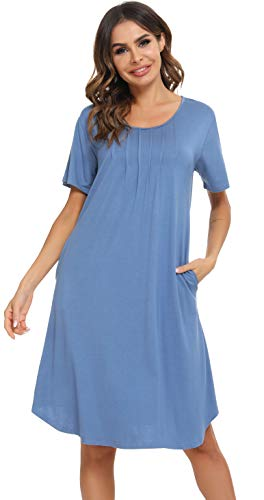 Vlazom Camisón Mujer Verano Camisón de Manga Corta Cuello Redondo Ropa de Dormir Suave Pijamas Transpirable Loungewear S-XXL,S,Azul Cobalto
