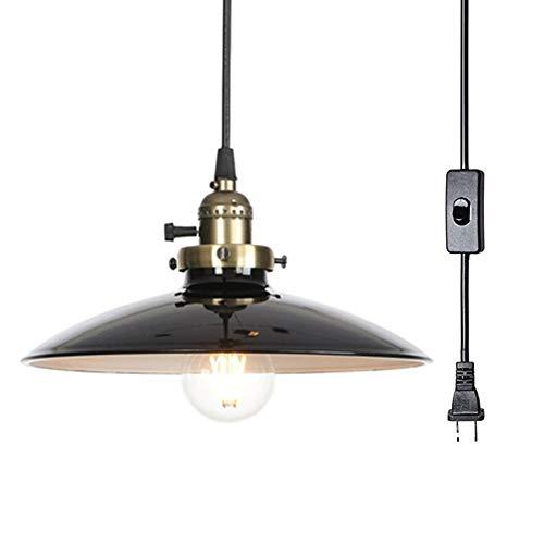Houkiper - Lámpara colgante de estilo vintage, con interruptor de encendido y apagado para cocina, comedor (negro)