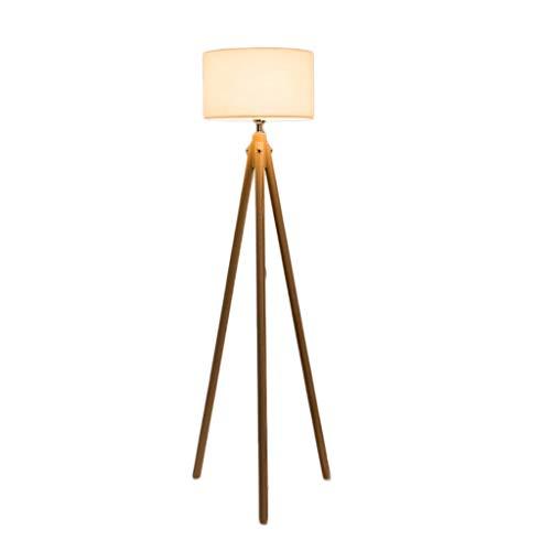Lampadaire Nordique en Bois Salon Simple Moderne Triangle Bras de Suspension cylindrique (Color : Wood, Taille : Stepless dimming)