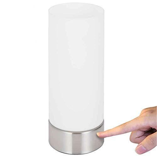 Bakaji Lampada da Tavolo Lume per Comodino con Accensione Touch Luce Dimmerabile 4 Luminosità Selezionabili Lampadina Attacco E14 in Metallo Design Moderno (Cilindro)