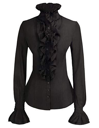 Rüschenbluse Steampunk Gothic viktorianischen Piraten Krawatte Rüschen Vamp Button Bluse Top schwarz-1 L
