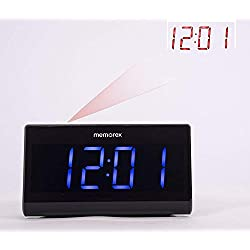 """Memorex MC0952 Projection Alarm Clock for Bedrooms, Digital Alarm Clock with Large 7"""" LED Display & Dimmer, 180° Projector, USB Charger, Snooze, Battery Backup, Desk Wall Ceiling Clock for Kid Elderly"""