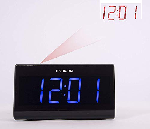 """Projection Alarm Clock for Bedrooms, Digital Alarm Clock with Large 7"""" LED Display & Dimmer, 180° Projector, USB Charger, Snooze, Battery Backup, Desk Wall Ceiling Clock for Kid Elderly Memorex MC0952"""