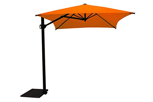 Maffei Art 137r Kronos Parasol deporté rectangulaire cm 300x200, Tissu PolyMa. Made in Italy. Couleur Orange