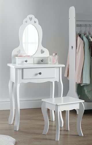 Runesol Coiffeuse pour Fille avec Tabouret et Miroir, Petit Table de Toilette pour Enfant idéale pour Les Filles 3-7 Ans, Coiffeuse en Bois Blanche de Maquillage d'enfants