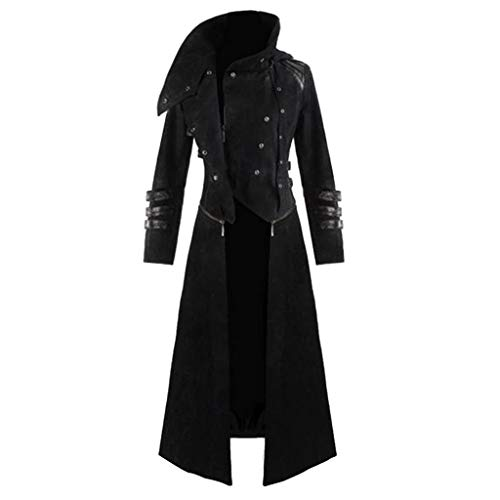 Men's Steampunk Vintage Tailcoat Jacket Gothic Victorian Frock Long Trench Coat Uniform Costume