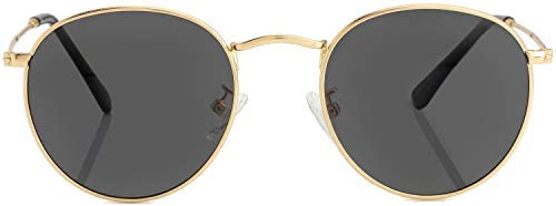 Small Round Polarized Sunglasses for Men Women Mirrored Lens Classic Circle Sun Glasses Gold product image