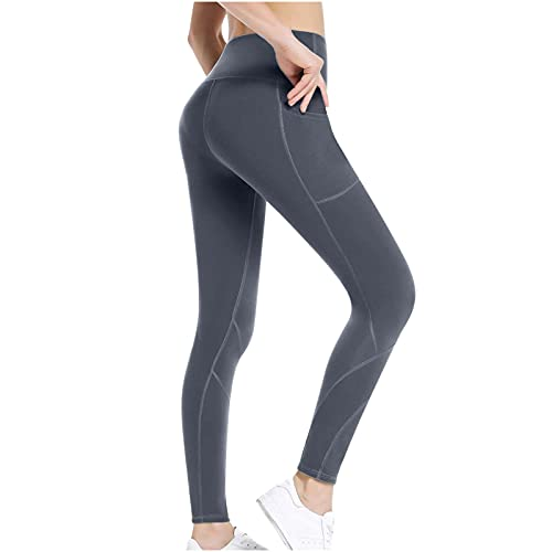 BGUK Leggings de invierno para mujer, térmicos, forrados, cálidos, leggings de cintura alta, con forro, slim largos, para levantamiento de caderas, calzoncillos térmicos, gris, L