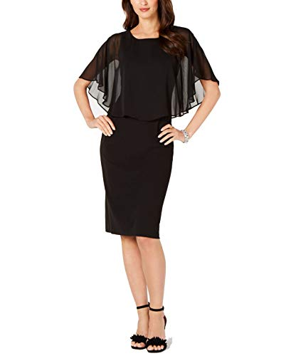Connected Apparel Womens Petites Chiffon Layered Capelet Dress Black 4P
