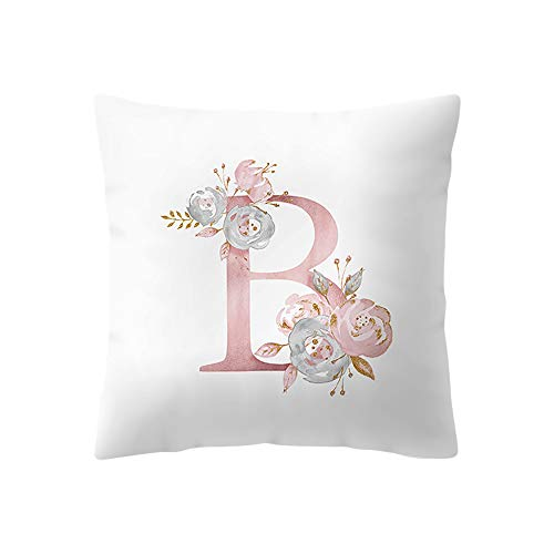 ADESHOP Zippered Pillow Case, Alphabet Pattern Printing Cotton Linen Throw Pillow Case Cushion Covers 18 * 18inch, B