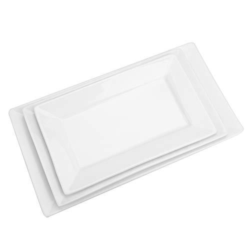Suwimut Porzellan-Servierteller, groß, weiß, rechteckig, für Partys, groß, mittel, klein, mikrowellen- und spülmaschinenfest, 3 Stück