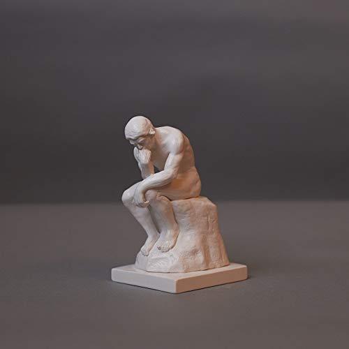 Der Denker nach Auguste Rodin, Skulptur aus hochwertigem Zellan, echte Handarbeit Made in Germany, Büste in weiß, 14cm