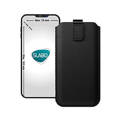 Slabo universelle Schutzhülle für Smartphone (max. 165 x 78 x 10 mm) universal Schutztasche Handyhülle Hülle mit Magnetverschluss aus Kunstleder - SCHWARZ | Black