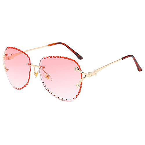 HPPSLT Al Aire Libre Gafas de Sol Irregulares sin Montura Las Mujeres diseñan Gafas de Sol de gradiente para Tonos Femeninas Eyewear Transparente-C7 De Moda (Color : Pink)