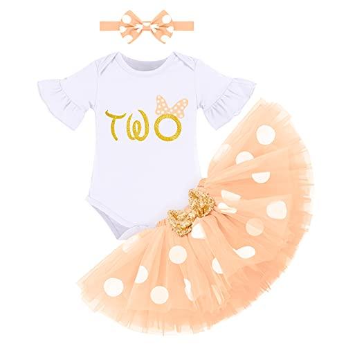 FYMNSI Conjunto de ropa de 3 piezas para bebé o niña, de algodón, de manga corta, con tutú y cinta para la cabeza, para el segundo cumpleaños melocotón 2 Años