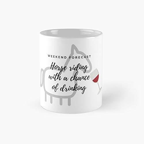 Divertido caballo con vino clásico taza mejor regalo tazas de café 11 oz