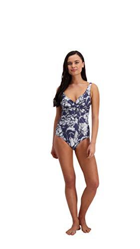Damen Mono Bloom Bügel Cup Size Wrap Badeanzug Blumenmuster Strand Urlaub Kostüm Anthrazit Gr. 44, anthrazit