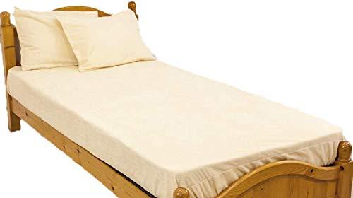 防水シーツ セミダブル ボックスシーツ ロングパイル おねしょシーツ ロング綿パイルの防水BOXシーツ(120×200×30cm) イエロー