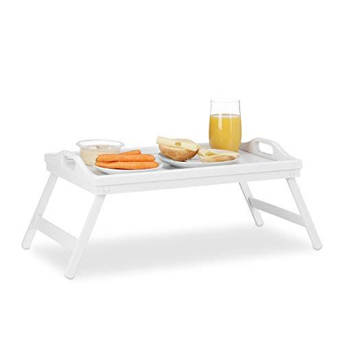 Relaxdays Bandeja Cama con Asas y Patas Plegables, Madera, Blanco, 22 x 61,5 x 30 cm