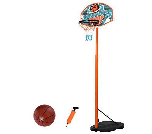 HOMCOM Kinder Basketballständer Basketballkorb Einstellbare mit Ständer Höhenverstellbar mit Ball & Pumpe Blau+Schwarz