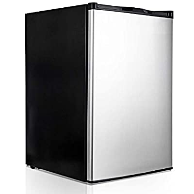 COSTWAY Compact Single Door Upright Freezer - Mini Size with Stainless Steel Door - 3.0 CU FT Capacity - Adjustable