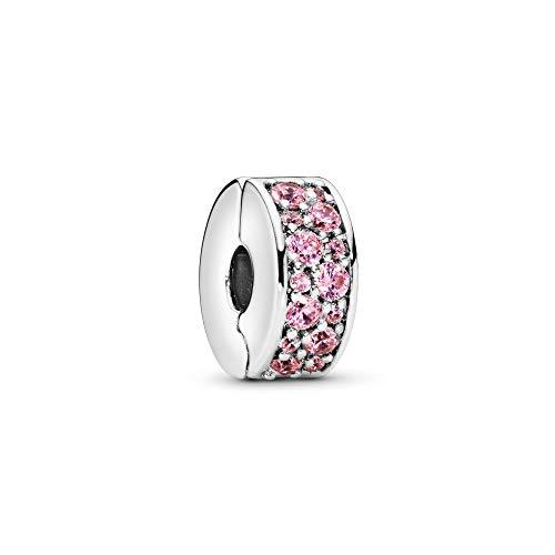Pandora Rosafarbener Pavé-Glanz Clip 791817PCZ