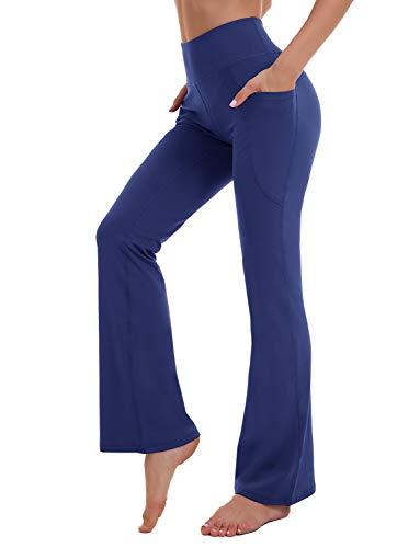 KMISUN - Pantalones de yoga para mujer, con bolsillos y cintura alta, para entrenamiento - Azul - Medium