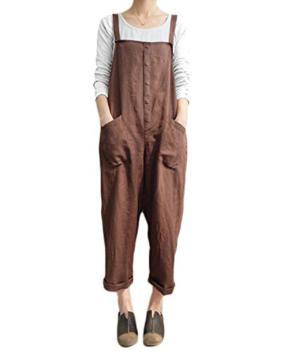 VONDA Damen Latzhose Retro Lange Overall Größe Jumpsuit Baggy Sommerhose A-Kaffee S/EU36
