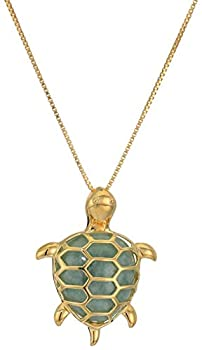 18k Yellow Gold Plated Sterling Silver Genuine Green Jade Turtle Pendant Necklace 18