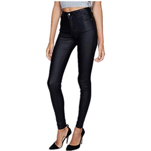 Andiwa Pantalones de piel sintética para mujer de cintura alta para bicicleta, con push up, elásticos, delgados, de poliuretano, sexy, para mujer