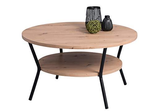 HomeTrends4You Aurora Couchtisch, Holzwerkstoff, Artisaneiche, Durchmesser 80cm, Höhe 45cm