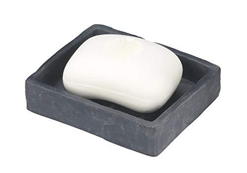WENKO Seifenablage Slate-Rock, Seifenschale zur Aufbewahrung von Handseife, aus Kunststoff in Schiefer-Optik, 11,2 x 2,7 x 9,4 cm, Anthrazit