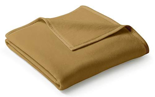 biederlack® flauschig-weiche Kuschel-Decke aus Baumwolle und dralon® I Made in Germany I Öko-Tex Made in Green I nachhaltig produziert I einfarbige Wohn-Decke Cotton Uni - Kamel in 150x200 cm