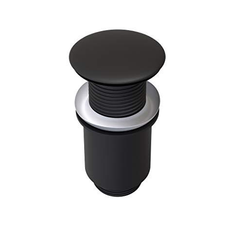 ATCO® Design Pop-Up Ventil Ablauf Ablaufgarnitur Excenter Exzenter Abfluss Waschtisch Siphon PU34 ohne Überlauf schwarz