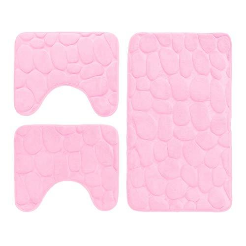 Set 3 Pezzi Completo TAPPETI Bagno Sassi Memory Foam Antiscivolo Morbidi 3D Vari Colori TAPPETINI SPEDIZIONE Gratuita Offerta (TMS/2ROSA)
