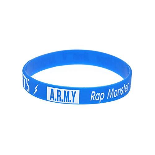 Zdy 10Pcs Silikon-Armband Kombination BTS Army Panzerjugendgruppe Fan Group Silikon-Armband-Stern-Coloring-Armband,Blau