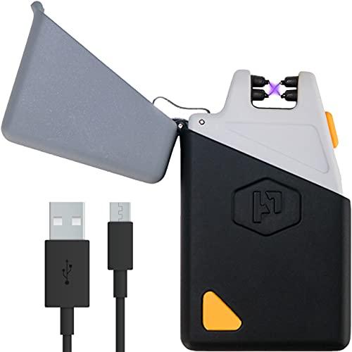 Alimentation pratique Sparkr Mini – USB rechargeable coupe-vent Arc électrique Briquet et lampe de poche – Double Arc Plasma Briquet + LED LAMPE DE POCHE pour tous les jours de transport