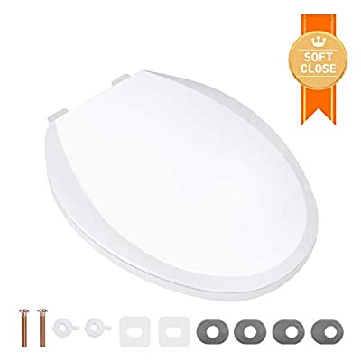 Elongated Toilet Seat, TACKLIFE DBTS03S Quiet Close Toilet Seat with Two Sets of Washers for Easy Installation, White Toilet Seat Elongated with Non-slip Seat Bumpers, PP Material Toilet Seat