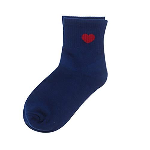 ZZBO Damen Streifen Rohr Socken Cosy Sneaker Socken Herzform Drucken Tennissocken Lässig Kuschel Socken Elastic Cuff Mittlere Schlauchstrümpfe Retro Hochwertige Hautfreundliche Socken