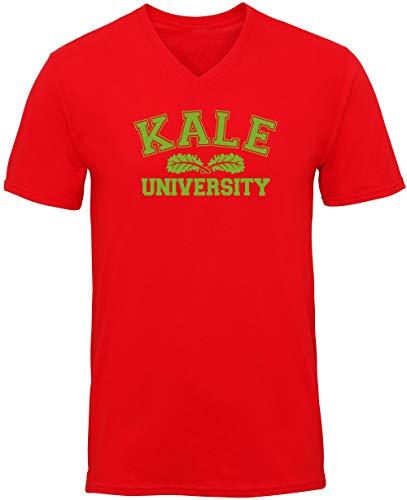 Hippowarehouse Kale University Unisex V-Neck Short Sleeve t-Shirt (Specific Size Guide in Description) Red