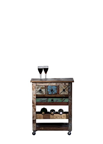 Sit Möbel Riverboat 9187-98 Küchenwagen auf Rollen, 3 Schubladen, recyceltes Altholz, bunt lackiert, 78 x 48 x 85 cm