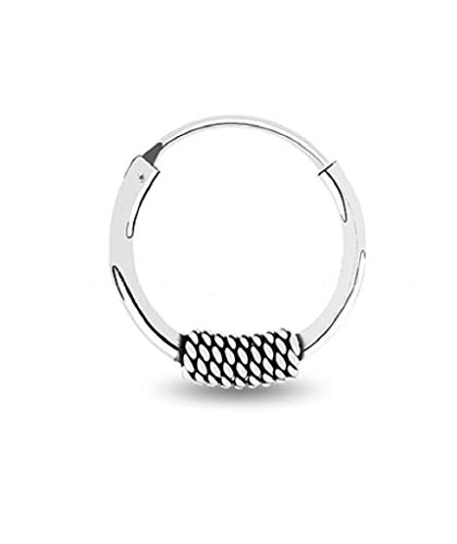 Sterling Silver Bali Style Hoop 12mm For Men & Women