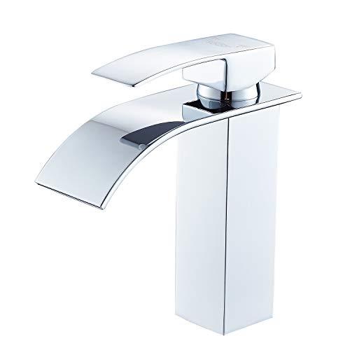 SOQO Wasserfall Wasserhahn Bad Waschtischarmatur Mischbatterie Waschbeckenarmatur Badarmatur Waschtischmischer Bad Armatur für Badezimmer Waschbecken Brass Body