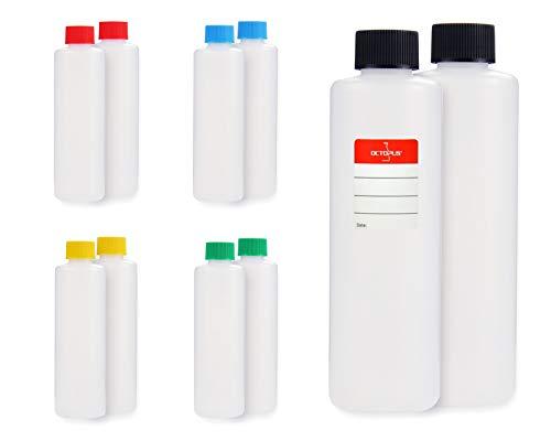 10 botellas de plástico de Octopus de 250 ml, botellas de plástico de HDPE con tapones de rosca de colores, ronda botellas vacías con tapas de rosca de colores, botellas redondas con 10 etiquetas para